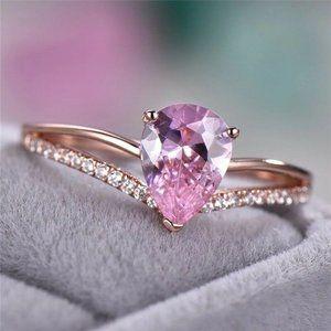18K Rose Gold Pear Shaped Pink Teardrop Ring